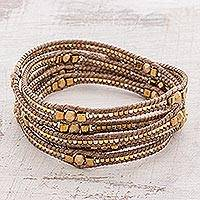 Glass beaded wrap bracelet, 'Golden Daydreams' - Gold-Hued Glass Beaded Wrap Bracelet from Guatemala