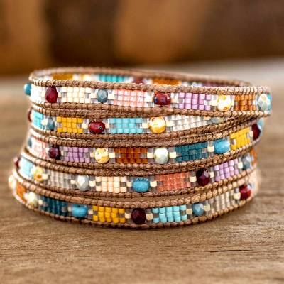 Glass beaded wrap bracelet, Colorful Festival