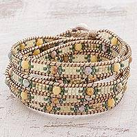 Glass beaded wrap bracelet, 'Golden Fields' - Glass Beaded Wrap Bracelet from Guatemala