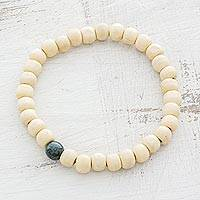 Men's jade and wood beaded stretch bracelet, 'Strong Contrast' - Men's Dark Green Jade and Light Pinewood Beaded Bracelet