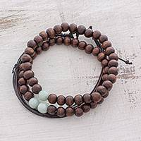 Men's jade, wood, and leather bracelets, 'Focused' (set of 3) - Men's Wood and Jade Bead Plus Leather Bracelets (Set of 3)