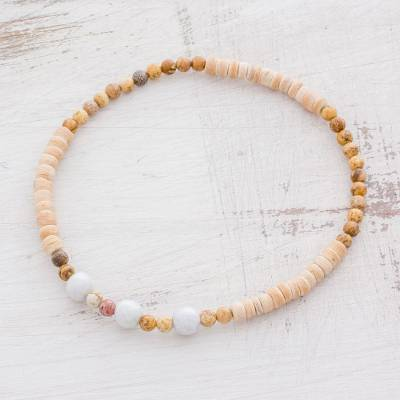 Jade and jasper beaded stretch anklet, Sand Dunes