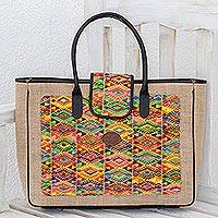 Leather accent cotton and jute tote, 'Traditional Textiles' - Leather Accent Geometric Cotton and Jute Tote from Guatemala