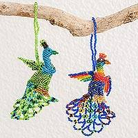 Glass beaded ornaments, 'Real Beauty' (pair) - Hand-Beaded Glass Peacock Ornaments from Guatemala (Pair)