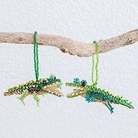 Glass beaded ornaments, 'Green Crocodiles' (pair) - Green Glass Beaded Crocodile Ornaments from Guatemala (Pair)