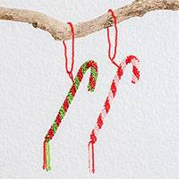 Glass beaded ornaments, 'Lovely Canes' (pair) - Glass Beaded Candy Cane Ornaments from Guatemala (Pair)