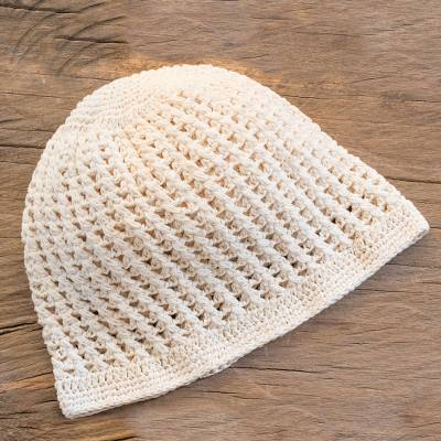 Cotton hat, 'Fresh Alabaster' - Crocheted Cotton Hat in Alabaster from Guatemala