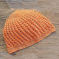 Cotton hat, 'Fresh Tangerine' - Crocheted Cotton Hat in Tangerine from Guatemala
