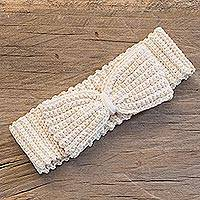 Cotton headband, 'Alabaster Bow' - Crocheted Cotton Headband with Bow from Guatemala
