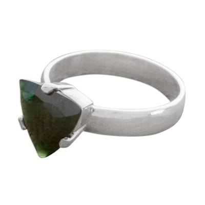 Triangular Jade Solitaire Ring from Guatemala