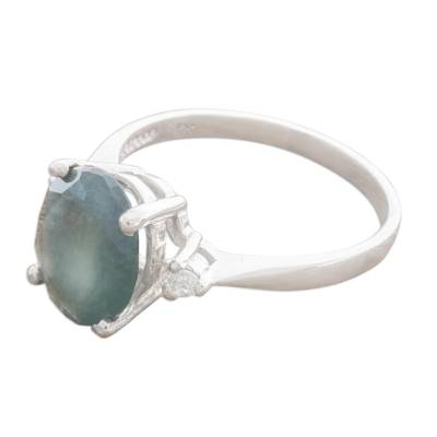 Oval Blue Jade Solitaire Ring from Guatemala