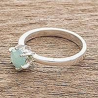 Jade solitaire ring, 'Mayan Promise' - Mint Green Jade Solitaire Ring from Guatemala