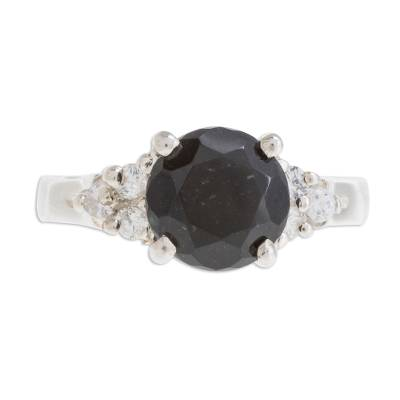 Black Jade Solitaire Ring from Guatemala