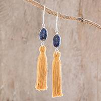 Lapis lazuli dangle earrings, 'Sun and Sea' - Tasseled Lapis Lazuli Dangle Earrings from Guatemala