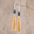 Lapis lazuli dangle earrings, 'Sun and Sea' - Tasseled Lapis Lazuli Dangle Earrings from Guatemala thumbail