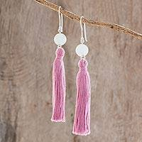 Jade dangle earrings, 'Pink Sweetness' - Jade Dangle Earrings with Pink Tassels from Guatemala