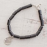 Onyx beaded charm bracelet,