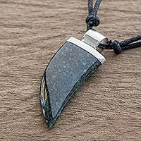 Jade pendant necklace, 'Wide Tusk in Dark Green' - Dark Green Jade Tusk Pendant Necklace from Guatemala