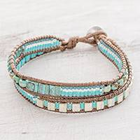 Glass beaded wristband bracelet, 'Siren Waves' - Glass Beaded Wrap Bracelet in Sky Blue from Guatemala