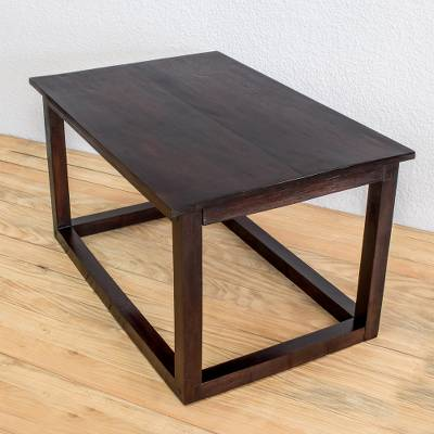 Wood accent table, 'Family Relaxation' - Modern Pinewood Accent Table from Guatemala