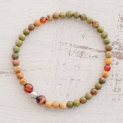 Multi-gemstone beaded stretch bracelet, 'Guatemalan Jungle' - Multi-Gemstone Beaded Stretch Bracelet from Guatemala