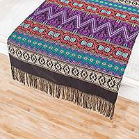 Cotton table runner, 'Resplendent Tradition' - Handwoven Cotton Table Runner from Guatemala
