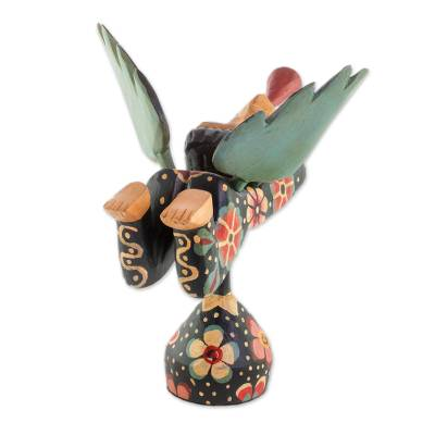 Wood sculpture, 'Heralding Angel' - Handcrafted Multi-Color Trumpeting Wood Angel Sculpture