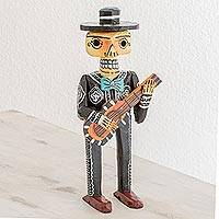 Wood statuette, 'Mariachi de los Muertos' - Day of the Dead Mariachi with Guitar Wood Statuette