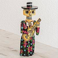 Wood statuette, 'Guitarrista' - Handcrafted Day of the Dead Female Guitarist Wood Statuette