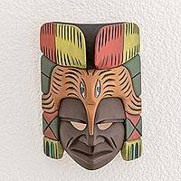 Wood mask, 'Honored Quetzal' - Handcrafted Orange and Red Quetzal and Face Wood Mask