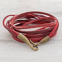 Faux leather cord bracelet, 'Crimson Harmony' - Red Cord Cord Bracelet from Guatemala