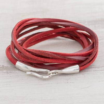 Faux leather cord bracelet, 'Crimson Strands' - Red Faux Leather Cord Bracelet from Guatemala