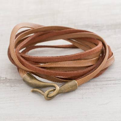 Faux leather cord bracelet, Sepia Harmony