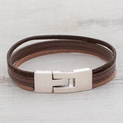 Faux leather wristband bracelet, 'Tricolor Elegance' - Tricolor Faux Leather Wristband Bracelet from Guatemala