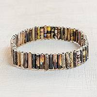 Recycled paper beaded stretch bracelet, 'Guatemalan History' - Recycled Paper Beaded Stretch Bracelet in Brown