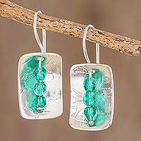 Sterling silver drop earrings, 'Verdant Shimmer' - Sterling Silver Rectangle Green Zirconite Bead Drop Earrings