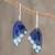 Enameled copper dangle earrings, 'Blue Winged Butterfly' - Blue Butterfly Wing Enameled Copper Dangle Earrings thumbail