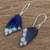 Enameled copper dangle earrings, 'Blue Winged Butterfly' - Blue Butterfly Wing Enameled Copper Dangle Earrings (image 2b) thumbail