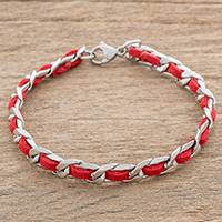 Leather and stainless steel bracelet, 'Fiery Power' - Reclaimed Red Leather Stainless Steel Wristband Bracelet