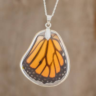 Sterling silver pendant necklace, 'Monarch Wing' - Sterling Silver and Monarch Butterfly Wing Pendant Necklace