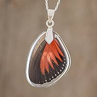 Sterling silver pendant necklace, 'Red Doris Longwing' - Silver and Doris Longwing Butterfly Pendant Necklace