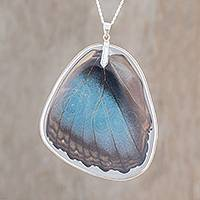 Sterling silver pendant necklace, 'Peleides Blue Morpho' - Silver and Peleides Blue Morpho Butterfly Pendant Necklace