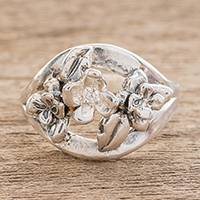 Sterling silver cocktail ring, 'Lemon Flower Garden' - Sterling Silver Floral Motif Cubic Zirconia Cocktail Ring