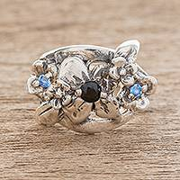 Sterling silver cocktail ring, 'Delightful Bouquet in Black' - Floral Sterling Silver Cocktail Ring in Black
