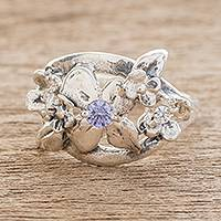 Sterling silver cocktail ring, 'Delightful Bouquet in Lilac' - Floral Sterling Silver Cocktail Ring in Lilac