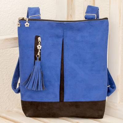 Suede backpack, 'Exploration in Lapis' - Handmade Suede Backpack in Lapis from Costa Rica