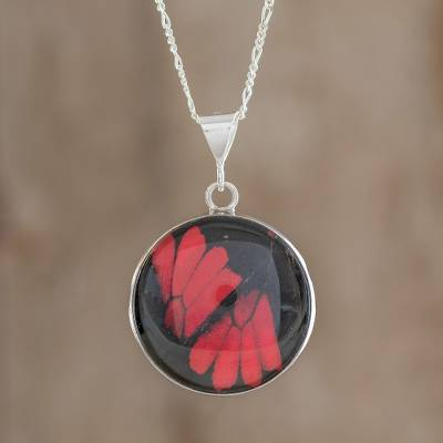 Butterfly wing pendant necklace, 'Red Doris Longwing' - Red Butterfly Wing and Sterling Silver Pendant Necklace