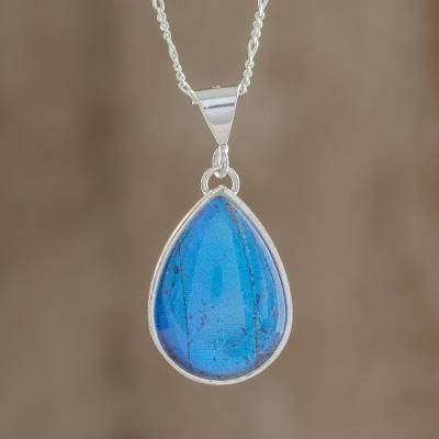 Butterfly wing pendant necklace, 'Morpho' - Blue Butterfly Sterling Silver Teardrop Pendant Necklace