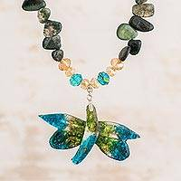 Agate and recycled glass beaded pendant necklace, 'Eco-Friendly Dragonfly' - Agate and Recycled Glass Dragonfly Necklace from Costa Rica