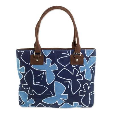 Batik Leather Accented Cotton Butterfly Shoulder Bag